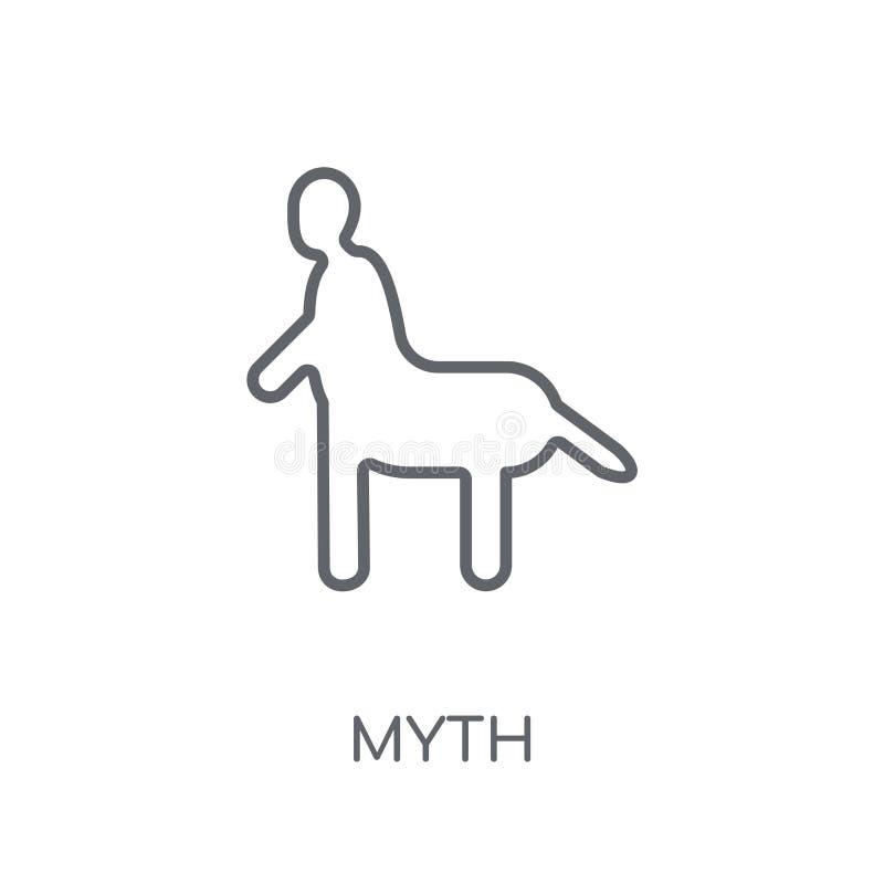 γραμμικό εικονίδιο μύθου Σύγχρονη έννοια λογότυπων μύθου περιλήψεων στην άσπρη πλάτη διανυσματική απεικόνιση