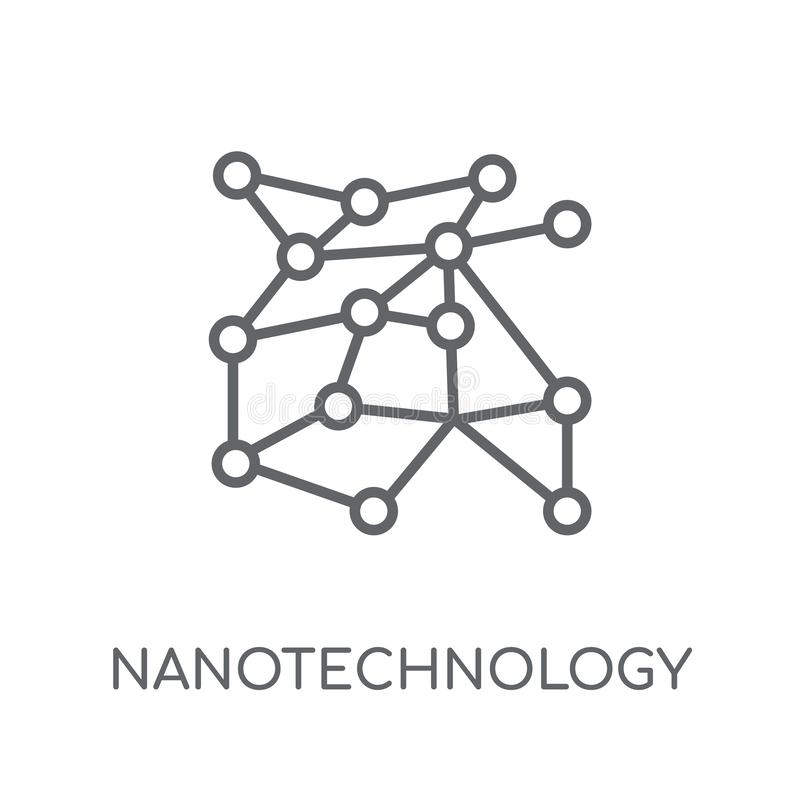 Γραμμικό εικονίδιο νανοτεχνολογίας Σύγχρονο λογότυπο γ νανοτεχνολογίας περιλήψεων απεικόνιση αποθεμάτων