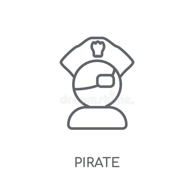 Γραμμικό εικονίδιο πειρατών Σύγχρονη έννοια λογότυπων πειρατών περιλήψεων στο λευκό διανυσματική απεικόνιση