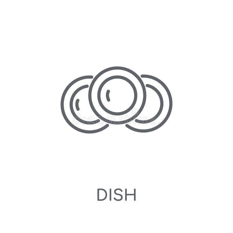 Γραμμικό εικονίδιο πιάτων Σύγχρονη έννοια λογότυπων πιάτων περιλήψεων στην άσπρη πλάτη διανυσματική απεικόνιση