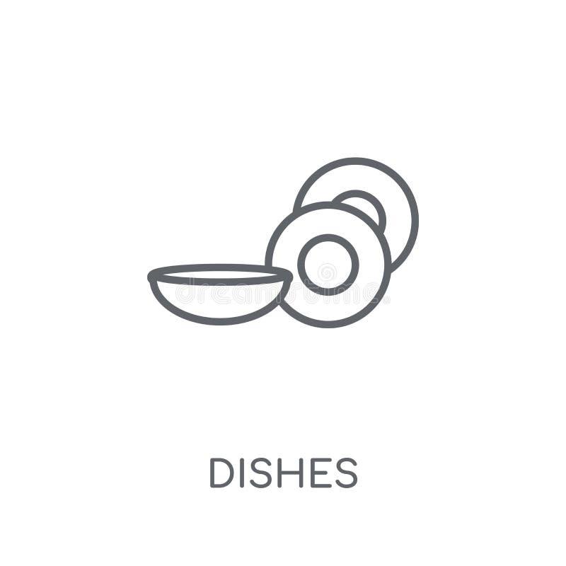 Γραμμικό εικονίδιο πιάτων Σύγχρονη έννοια λογότυπων πιάτων περιλήψεων στο λευκό ελεύθερη απεικόνιση δικαιώματος