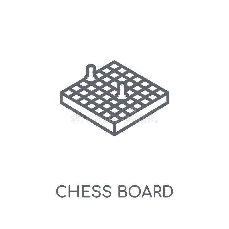 Γραμμικό εικονίδιο πινάκων σκακιού Σύγχρονη έννοια λογότυπων πινάκων σκακιού περιλήψεων ελεύθερη απεικόνιση δικαιώματος