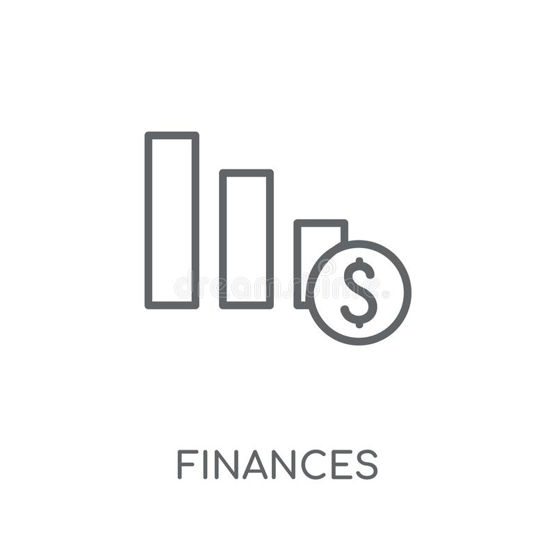 Γραμμικό εικονίδιο πόρων χρηματοδότησης Η σύγχρονη περίληψη χρηματοδοτεί την έννοια λογότυπων στο wh απεικόνιση αποθεμάτων
