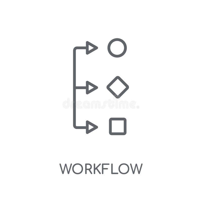 Γραμμικό εικονίδιο ροής της δουλειάς Σύγχρονη έννοια λογότυπων ροής της δουλειάς περιλήψεων στο wh ελεύθερη απεικόνιση δικαιώματος