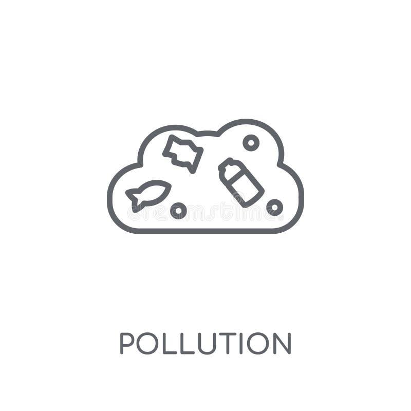 Γραμμικό εικονίδιο ρύπανσης Σύγχρονη έννοια λογότυπων ρύπανσης περιλήψεων επάνω διανυσματική απεικόνιση