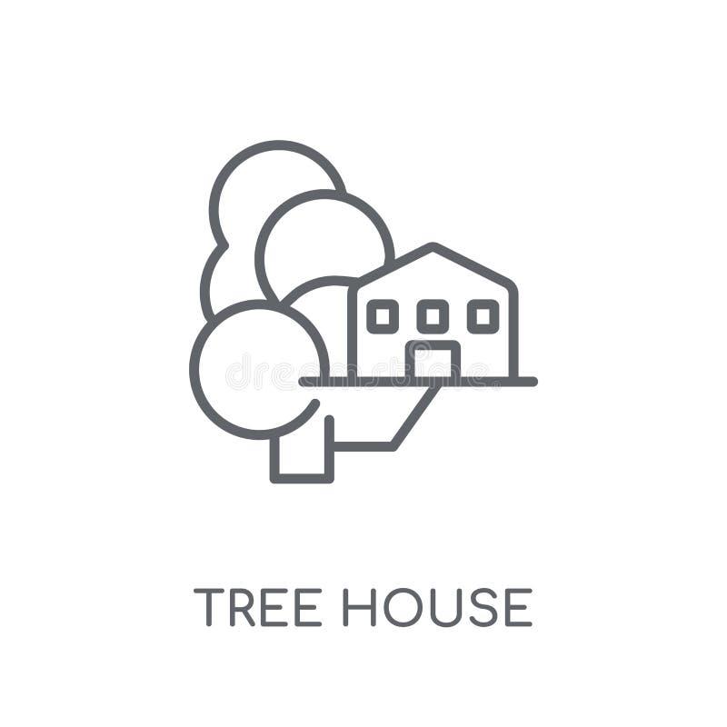 Γραμμικό εικονίδιο σπιτιών δέντρων Σύγχρονη έννοια ο λογότυπων σπιτιών δέντρων περιλήψεων ελεύθερη απεικόνιση δικαιώματος