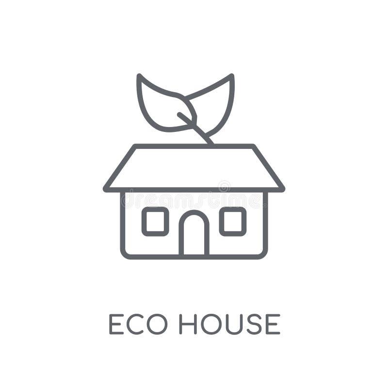 Γραμμικό εικονίδιο σπιτιών Eco Σύγχρονη έννοια λογότυπων σπιτιών Eco περιλήψεων επάνω διανυσματική απεικόνιση