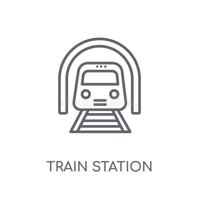 Γραμμικό εικονίδιο σταθμών τρένου Σύγχρονο λογότυπο σταθμών τρένου περιλήψεων con ελεύθερη απεικόνιση δικαιώματος