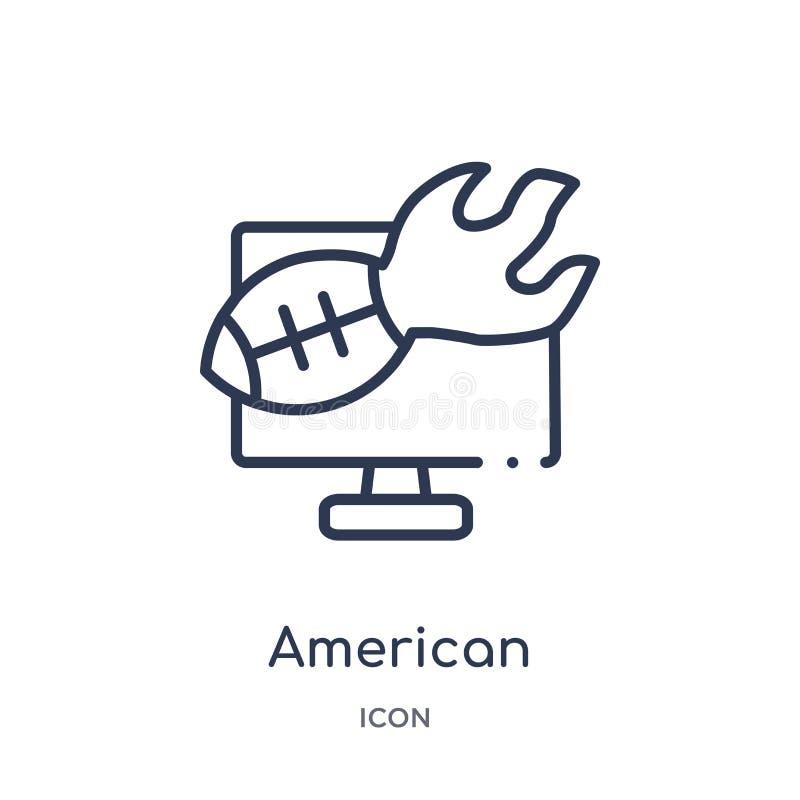 Γραμμικό εικονίδιο σχολιασμών αμερικανικού ποδοσφαίρου από τη συλλογή περιλήψεων αμερικανικού ποδοσφαίρου Λεπτό διάνυσμα σχολιασμ απεικόνιση αποθεμάτων