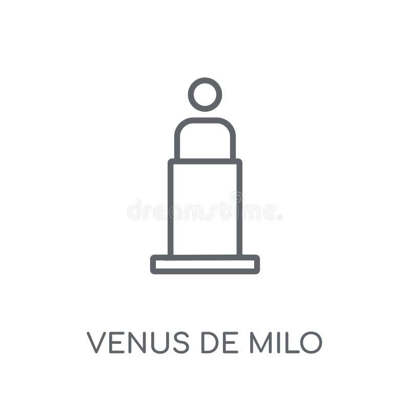 Γραμμικό εικονίδιο της Αφροδίτης de milo Σύγχρονο λογότυπο της Αφροδίτης de milo περιλήψεων con απεικόνιση αποθεμάτων