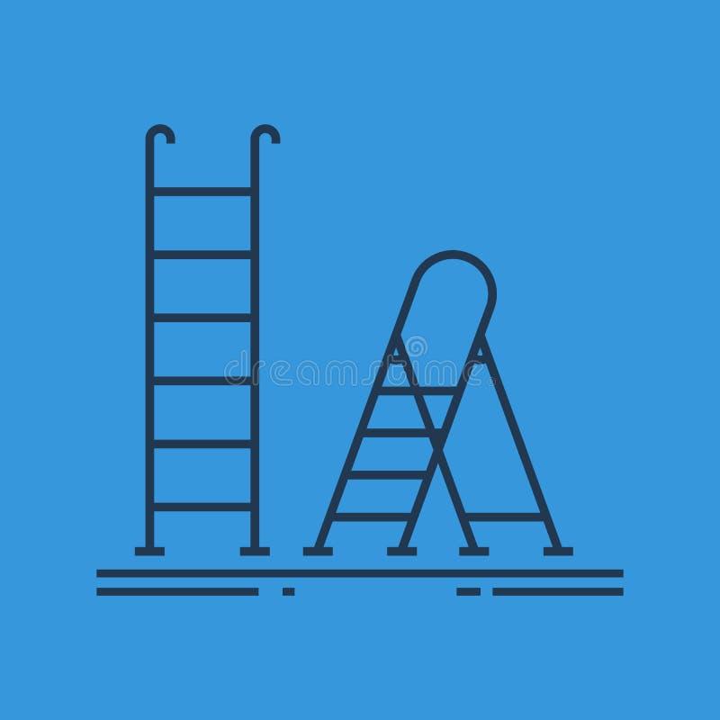 γραμμικό εικονίδιο της σκάλας και stepladder διανυσματική απεικόνιση