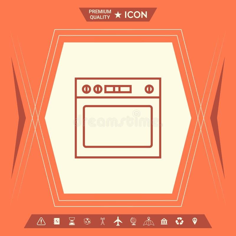 Γραμμικό εικονίδιο φούρνων διανυσματική απεικόνιση