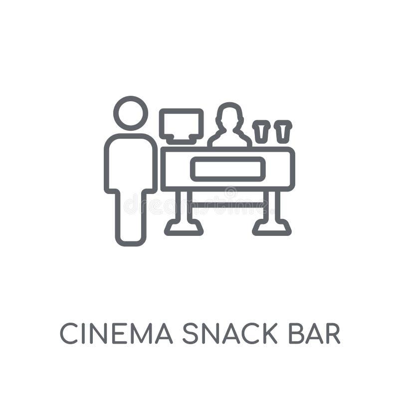 Γραμμικό εικονίδιο φραγμών πρόχειρων φαγητών κινηματογράφων Σύγχρονος φραγμός πρόχειρων φαγητών κινηματογράφων περιλήψεων lo απεικόνιση αποθεμάτων