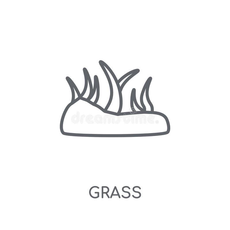 Γραμμικό εικονίδιο χλόης Σύγχρονη έννοια λογότυπων χλόης περιλήψεων στο άσπρο BA διανυσματική απεικόνιση