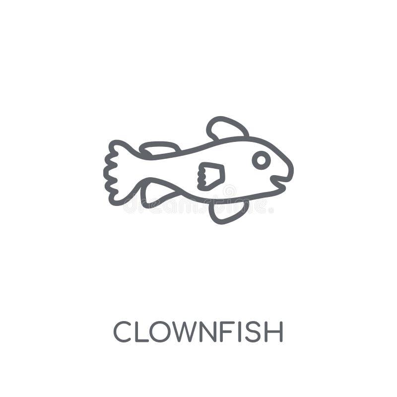 Γραμμικό εικονίδιο Clownfish Σύγχρονη έννοια λογότυπων Clownfish περιλήψεων επάνω απεικόνιση αποθεμάτων