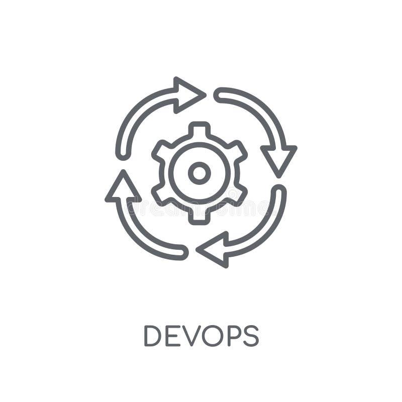 Γραμμικό εικονίδιο DEVOPS Σύγχρονη έννοια λογότυπων περιλήψεων DEVOPS στο λευκό διανυσματική απεικόνιση
