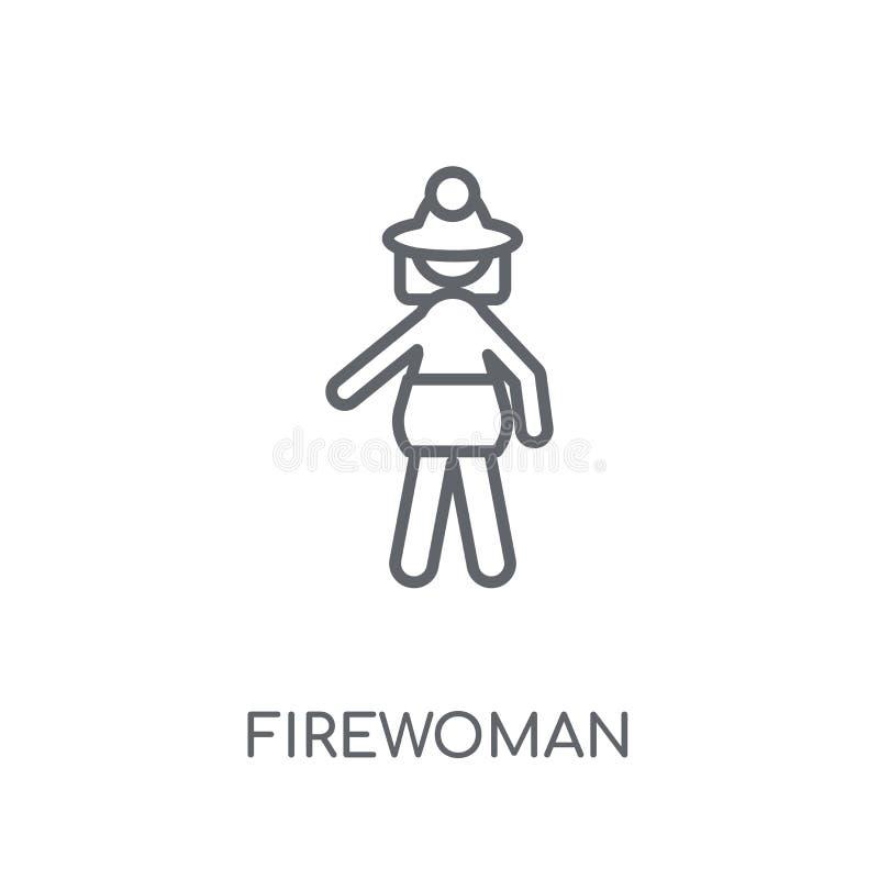Γραμμικό εικονίδιο Firewoman Σύγχρονη έννοια λογότυπων Firewoman περιλήψεων επάνω ελεύθερη απεικόνιση δικαιώματος