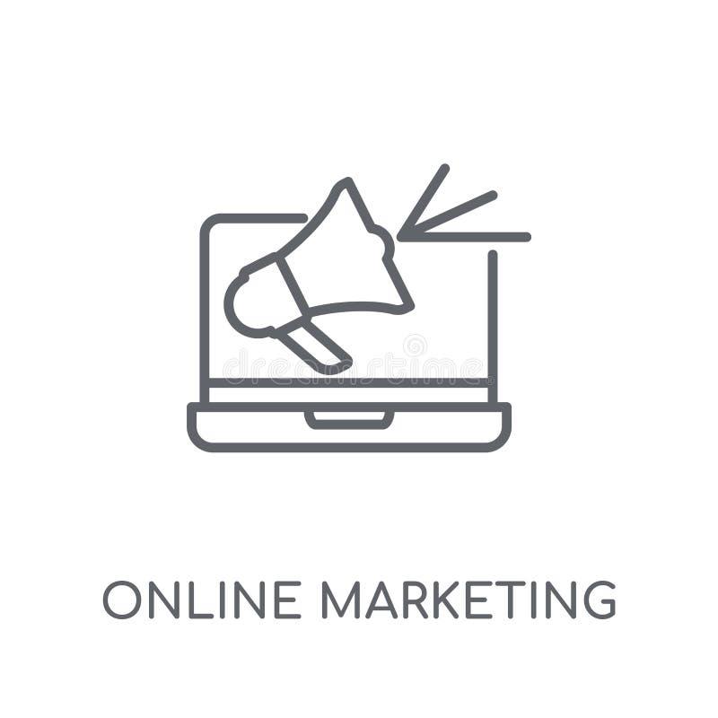 Γραμμικό εικονίδιο on-line μάρκετινγκ Σύγχρονο σε απευθείας σύνδεση μάρκετινγκ περιλήψεων lo απεικόνιση αποθεμάτων