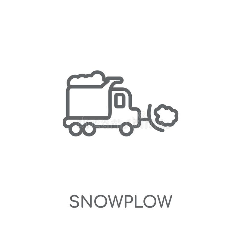 Γραμμικό εικονίδιο Snowplow Σύγχρονη έννοια λογότυπων Snowplow περιλήψεων στο wh ελεύθερη απεικόνιση δικαιώματος