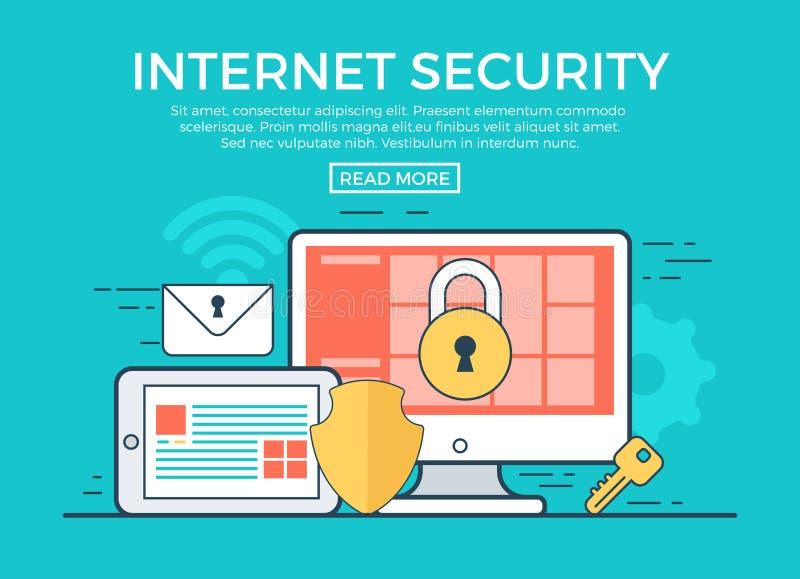 Γραμμικό επίπεδο διάνυσμα infographics ασφάλειας Διαδικτύου ελεύθερη απεικόνιση δικαιώματος