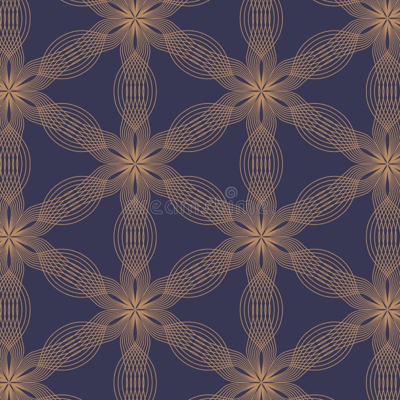 Γραμμικό διανυσματικό σχέδιο, που επαναλαμβάνει τα αφηρημένα φύλλα, χρυσή γραμμή λουλουδιού, floral διανυσματική απεικόνιση