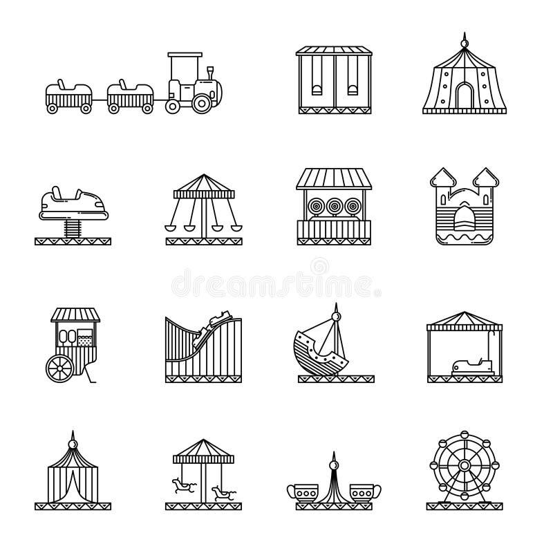 Γραμμικό διανυσματικό σύνολο εικονιδίων διασκέδασης, τσίρκων και ιπποδρομίων ελεύθερη απεικόνιση δικαιώματος