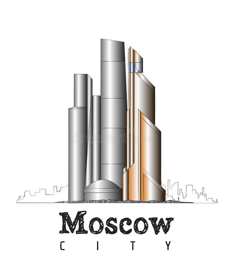 Γραμμικό ορόσημο της Ρωσίας πόλεων της Μόσχας διανυσματική απεικόνιση