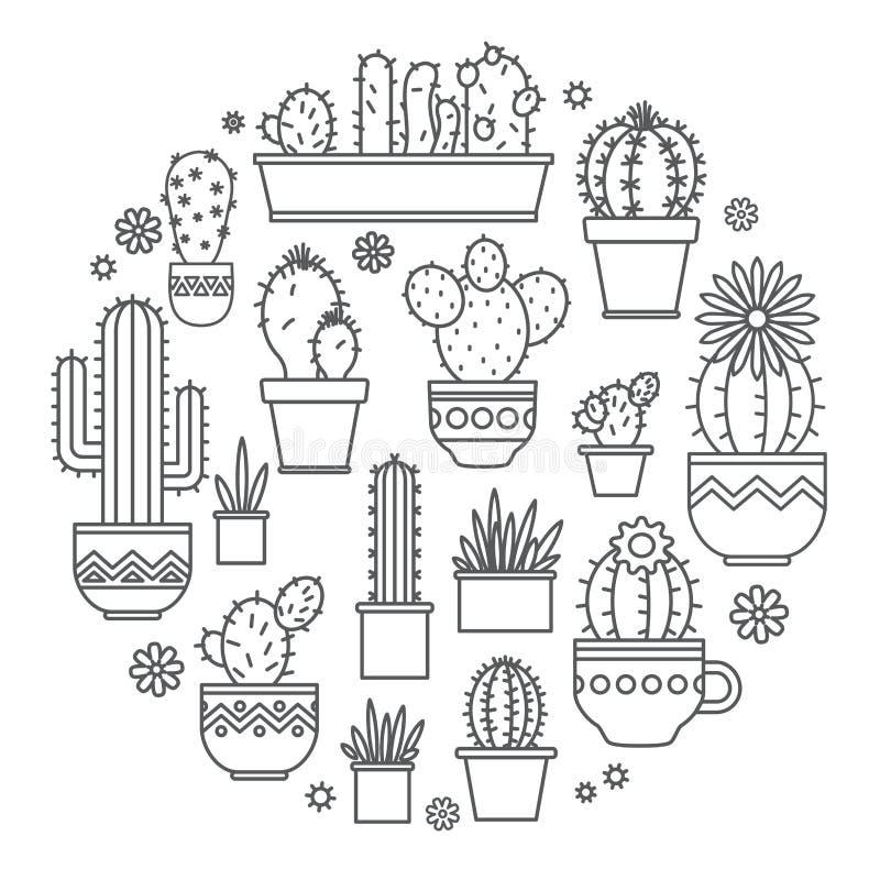 Γραμμικό σχέδιο, σε δοχείο κάκτος στοιχεία ενός εταιρικού λογότυπου διάνυσμα διανυσματική απεικόνιση