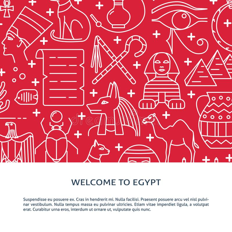 Γραμμικό υπόβαθρο ύφους με τα σύμβολα της Αιγύπτου και θέση για το κείμενο διανυσματική απεικόνιση