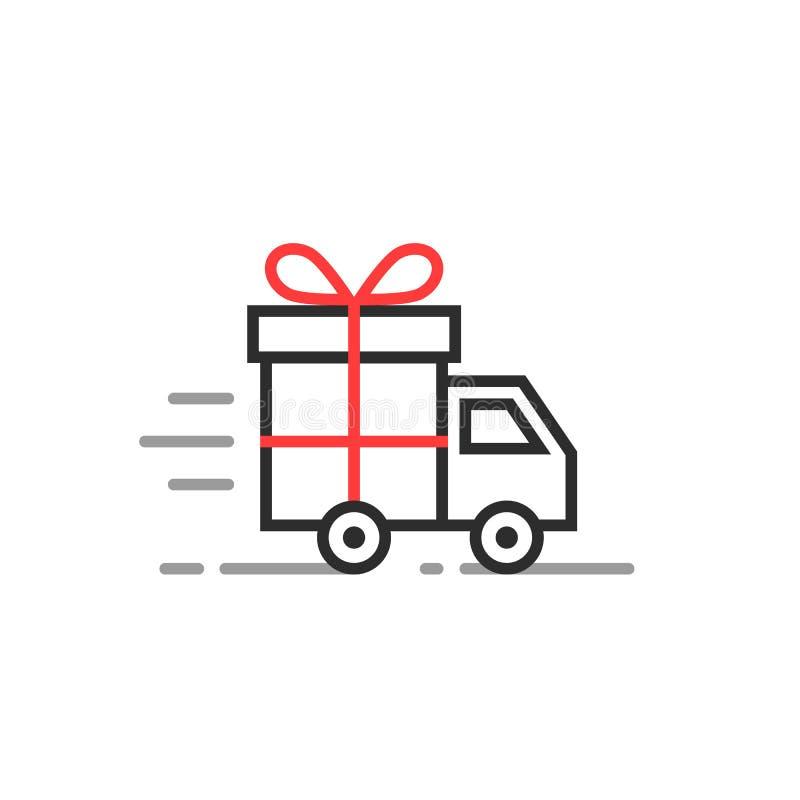 Γραμμικό φορτηγό παράδοσης με το κιβώτιο δώρων απεικόνιση αποθεμάτων