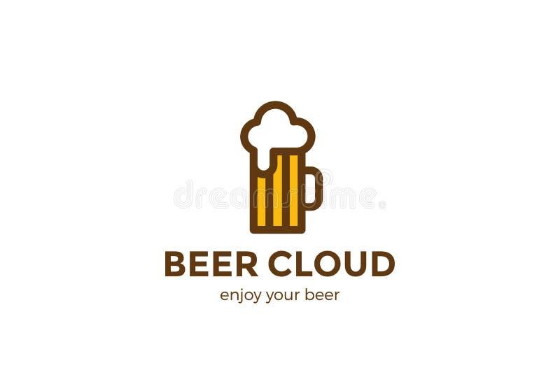 Γραμμικό ύφος προτύπων σχεδίου λογότυπων κουπών μπύρας Έννοια Logotype τεχνών ζυθοποιείων φραγμών μπαρ ελεύθερη απεικόνιση δικαιώματος