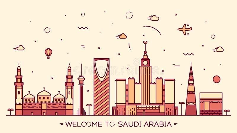Γραμμικό ύφος σκιαγραφιών της Σαουδικής Αραβίας οριζόντων ελεύθερη απεικόνιση δικαιώματος
