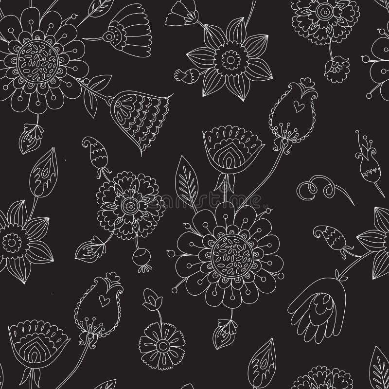 Γραμμικό floral σχέδιο σε ένα μαύρο υπόβαθρο, διανυσματική απεικόνιση