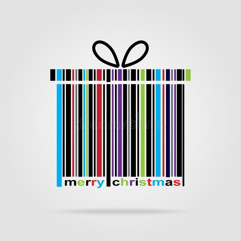 Γραμμωτός κώδικας καλή χρονιά και Χαρούμενα Χριστούγεννα διανυσματική απεικόνιση
