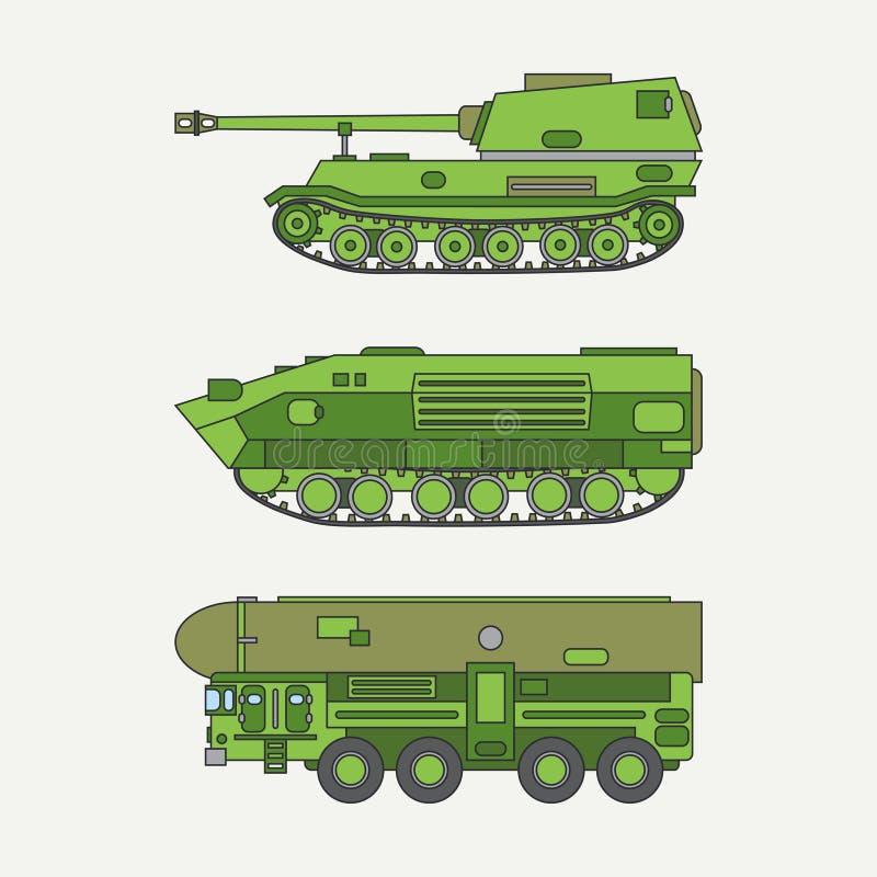 Γραμμών επίπεδη χρώματος διανυσματική δεξαμενή στρατού επιθέσεων πεζικού εικονιδίων καθορισμένη Στρατιωτικό όχημα Εκλεκτής ποιότη ελεύθερη απεικόνιση δικαιώματος