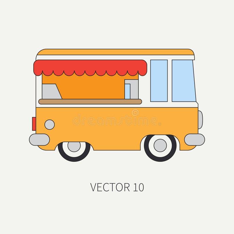 Γραμμών επίπεδο διανυσματικό χρώματος αυτοκίνητο καφετεριών εικονιδίων κινητό Εμπορικό όχημα Εκλεκτής ποιότητας ύφος κινούμενων σ απεικόνιση αποθεμάτων