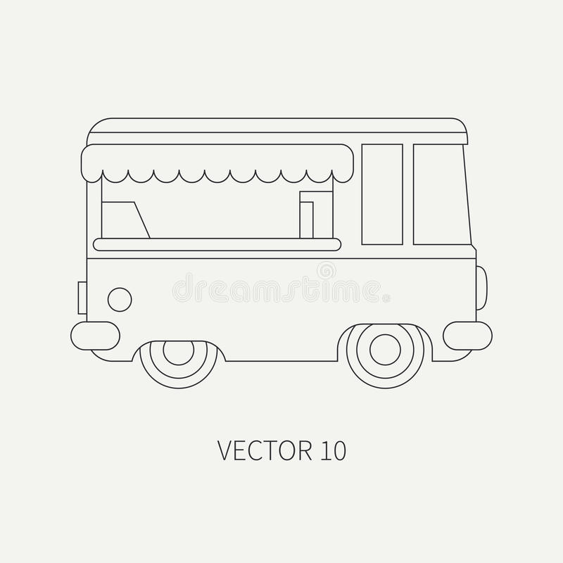 Γραμμών επίπεδο σαφές διανυσματικό αυτοκίνητο καφετεριών εικονιδίων κινητό Εμπορικό όχημα Εκλεκτής ποιότητας ύφος κινούμενων σχεδ απεικόνιση αποθεμάτων