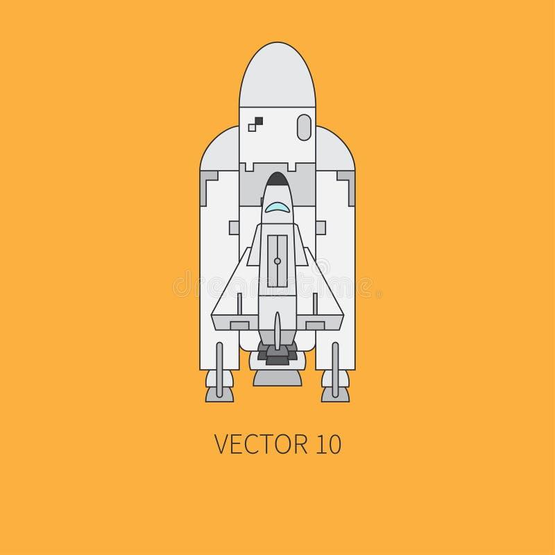 Γραμμών επίπεδο στοιχείο εικονιδίων χρώματος διανυσματικό του αεροδιαστημικού προγράμματος - πύραυλος, διαστημικό λεωφορείο Ύφος  ελεύθερη απεικόνιση δικαιώματος