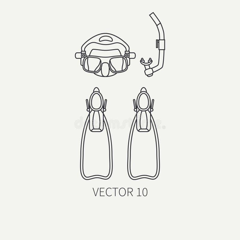 Γραμμών η επίπεδη σαφής διανυσματική μάσκα δυτών εικονιδίων εξοπλισμού δυτών υποβρύχια, κολυμπά με αναπνευτήρα, βατραχοπέδιλα ανα διανυσματική απεικόνιση