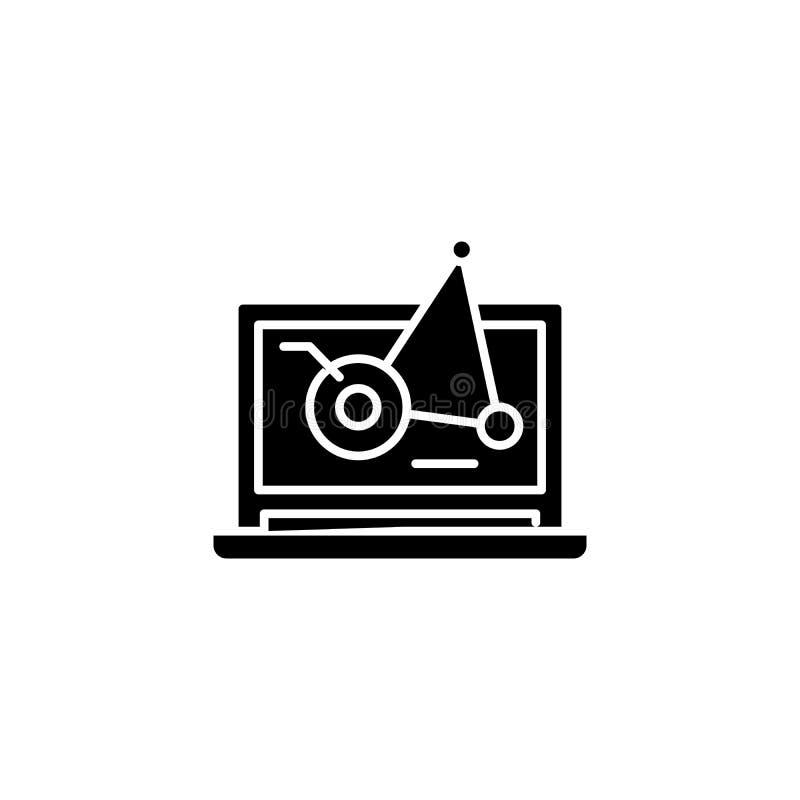Γραμμών κινητή έννοια εικονιδίων διαγραμμάτων μαύρη Επίπεδο διανυσματικό σύμβολο διαγραμμάτων γραμμών κινητό, σημάδι, απεικόνιση ελεύθερη απεικόνιση δικαιώματος