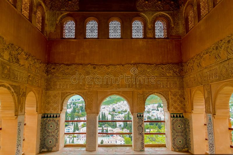 Γρανάδα, Ισπανία - 5/6/18: Παλάτι δυναστείας Nasrid των λιονταριών, Alhambra στοκ εικόνα με δικαίωμα ελεύθερης χρήσης