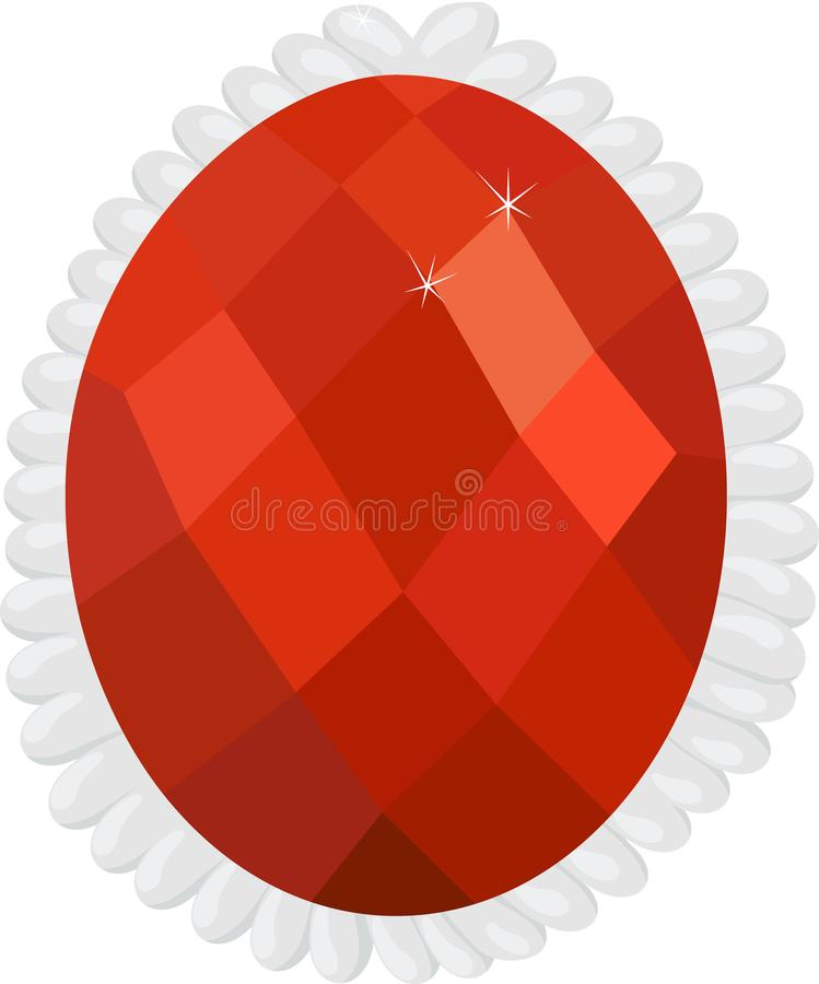 Γρανάτης ή hessonite στον ασημένιο πολύτιμο λίθο πλαισίων που απομονώνεται στο άσπρο υπόβαθρο απεικόνιση αποθεμάτων