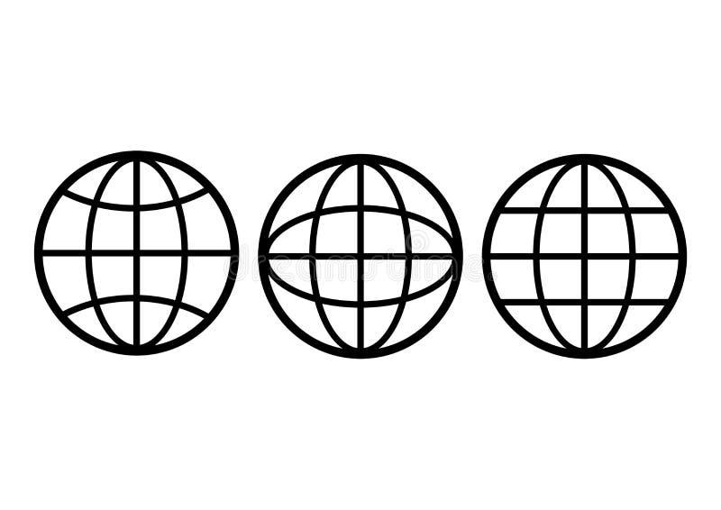 Γραπτά γήινα εικονίδια σφαιρών καθορισμένα r ελεύθερη απεικόνιση δικαιώματος