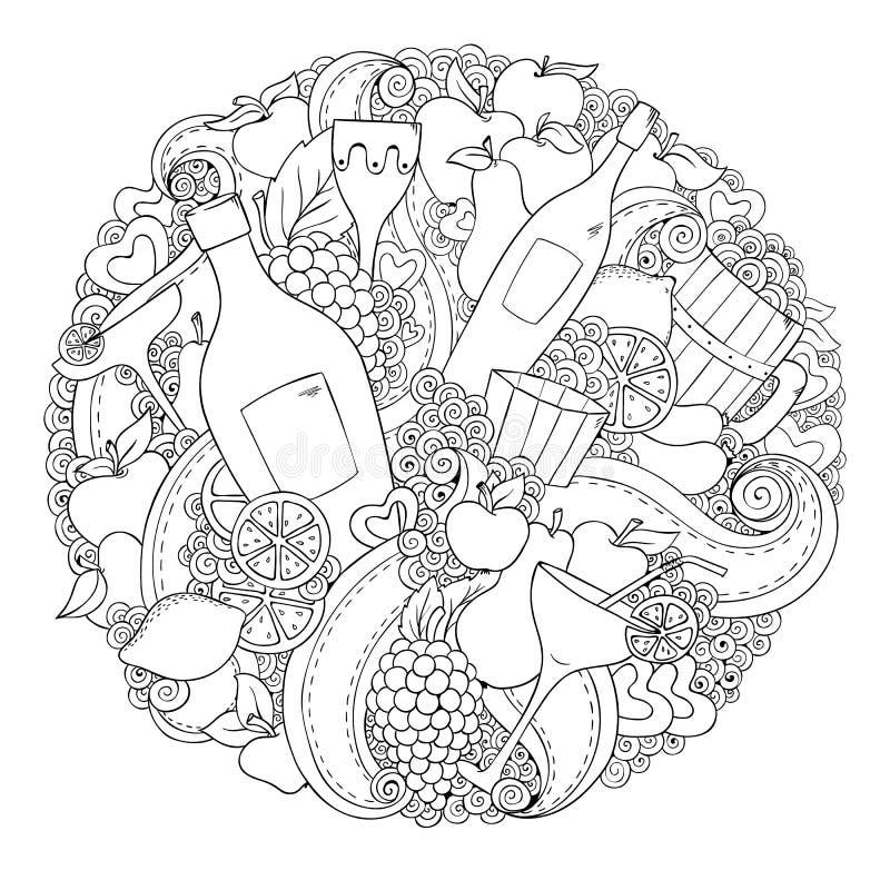 Γραπτά γραφικά συρμένα χέρι αφηρημένα κρασί, λουλούδι, καρδιά και φρούτα που τίθενται για τα γενέθλια, γάμος, επέτειος, σχέδιο αγ απεικόνιση αποθεμάτων