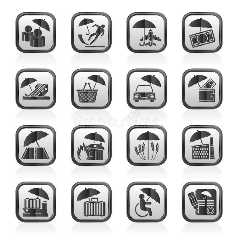 Γραπτά εικονίδια ασφάλειας, κινδύνου και επιχειρήσεων διανυσματική απεικόνιση