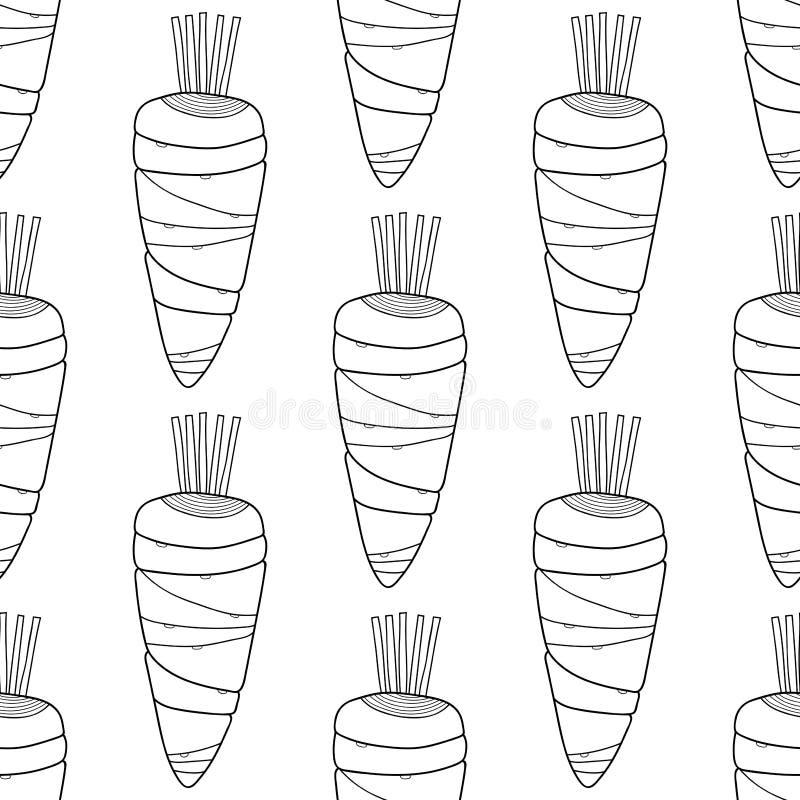 Γραπτά καρότα Άνευ ραφής σχέδιο για το χρωματισμό των βιβλίων doodle απεικόνιση για το σχέδιο ελεύθερη απεικόνιση δικαιώματος
