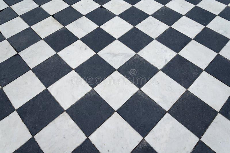 Γραπτά κεραμίδια Πάτωμα σκακιού στοκ εικόνες