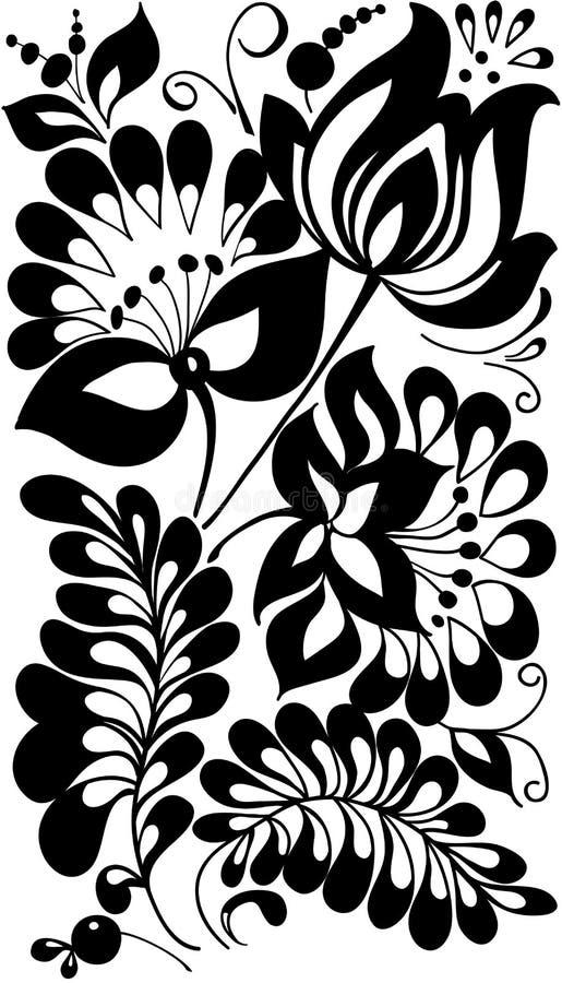 Γραπτά λουλούδια και φύλλα. Floral στοιχείο σχεδίου διανυσματική απεικόνιση