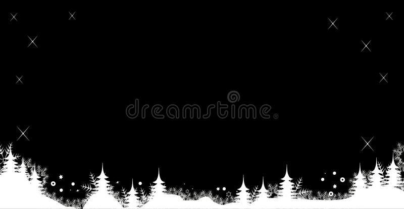 Γραπτά χιόνι εμβλημάτων χειμερινού υποβάθρου Χριστουγέννων και χριστουγεννιάτικα δέντρα ελεύθερη απεικόνιση δικαιώματος