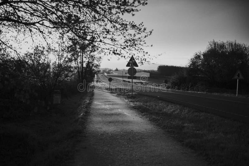 Γραπτές τοπίο και πορεία στοκ φωτογραφία